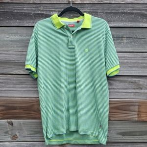 Izod green and blue striped short sleeve polo M